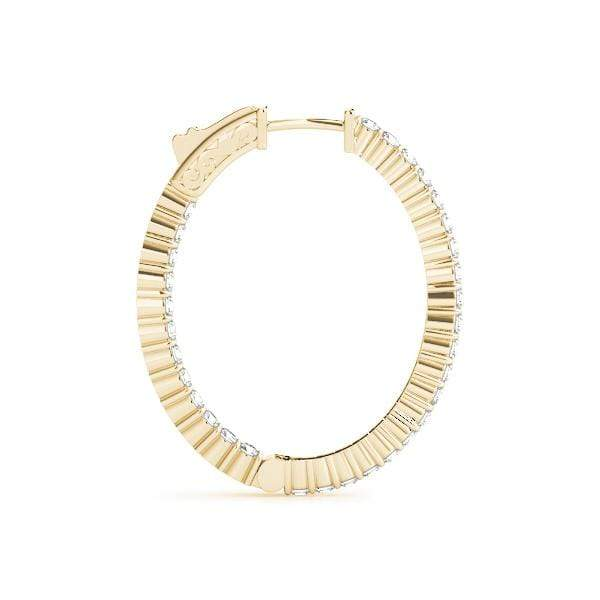 Yellow Gold Vogue Diamond Hoop Earrings- 2 Cttw