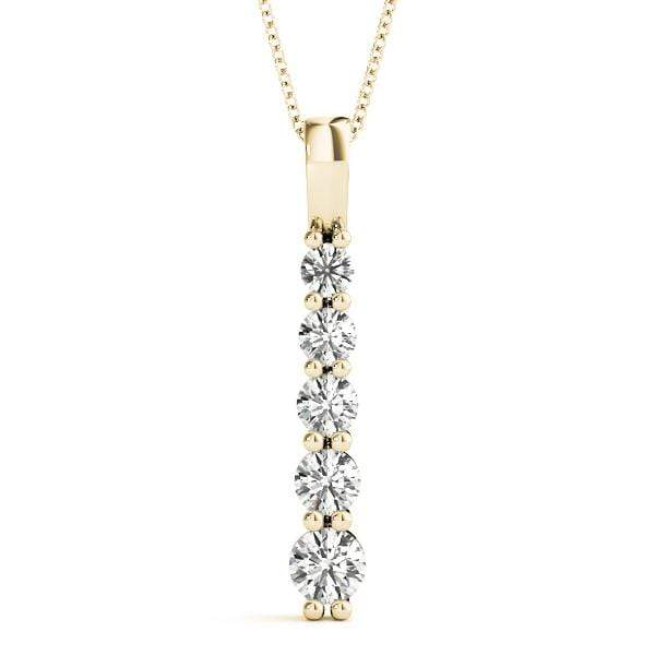 Linear 5 Stone Diamond Pendant- 1/4 Cttw