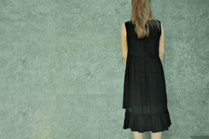 Lara Asymmetrical Black Dress