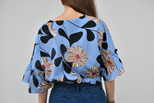 Load image into Gallery viewer, Poppy Flutter Sleeves Tie Floral Top