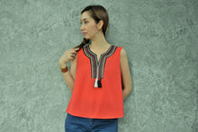 Load image into Gallery viewer, Scarlet Sleeveless Tribal Top