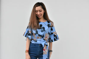 Poppy Flutter Sleeves Tie Floral Top