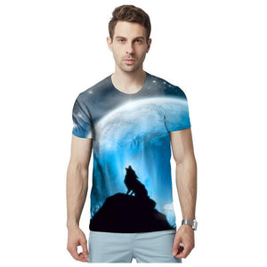 Men's T-shirt 3D Lion Summer Short Sleeve T-Shirts Casual Tees