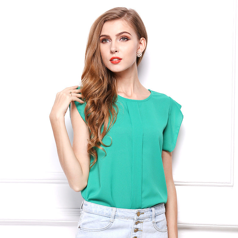 Solid color short-sleeved shirt Feifei sleeve chiffon shirt