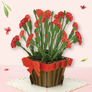 Carnation Flowers Pop Up Card