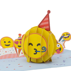 Partying Emoji Pop Up Birthday Card