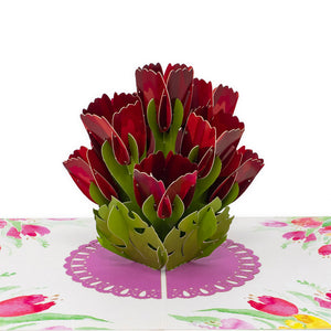 Paper Love Tulip Bouquet 3d popup card