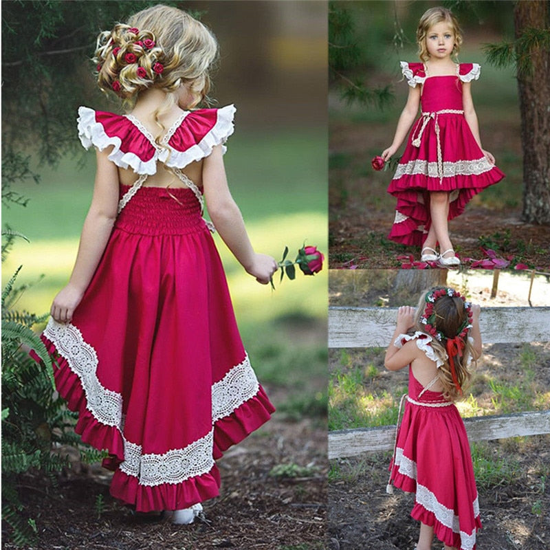Red Girl Ruffle Lace Irregular Party Dress 1-5T