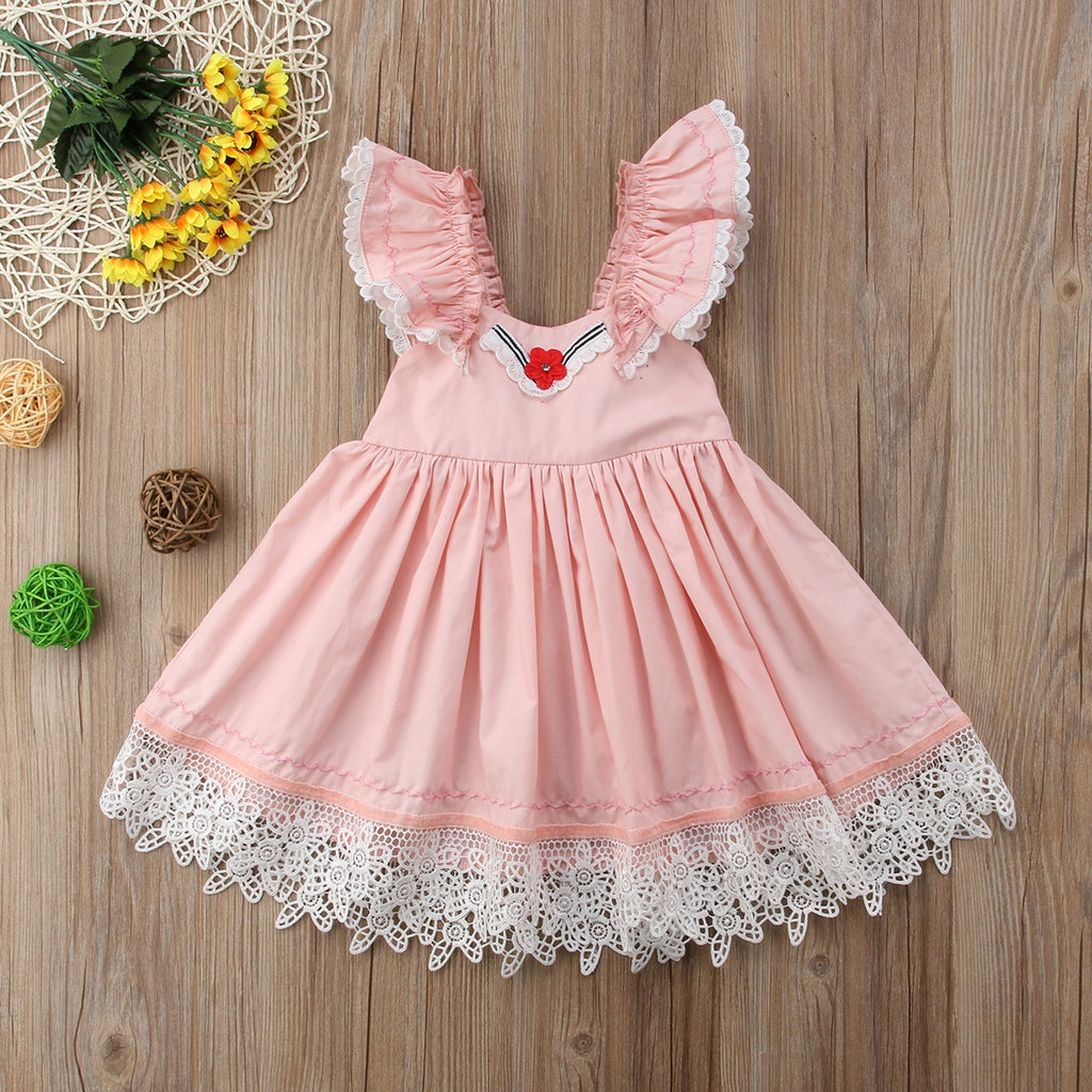 Girls Ruffle Lace Floral Tutu Dress Party Wedding Dresses Princess