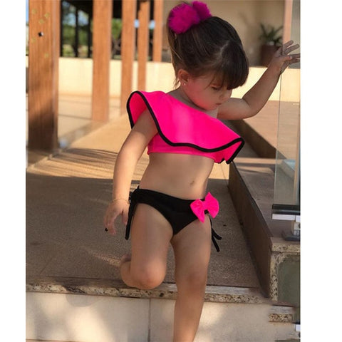Baby Kids Girl Ruffle Two Piece Swimsuit