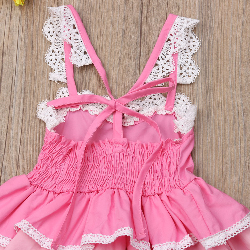 Summer Princess Girls Boho Lace Sleeveless Dress
