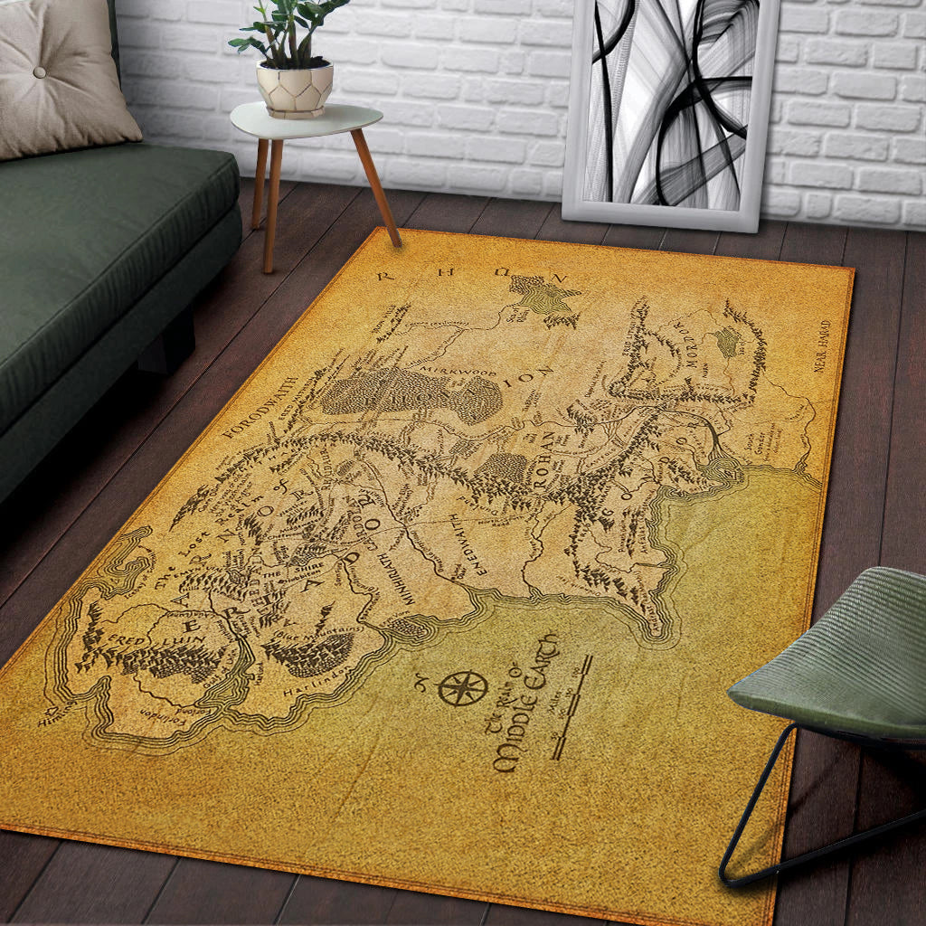 A Map Of Middle Earth Area Rug Kozmozstudio