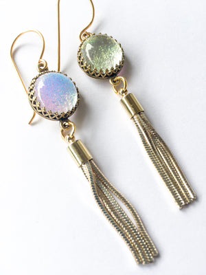 Short Gold Glass Tassel Earrings