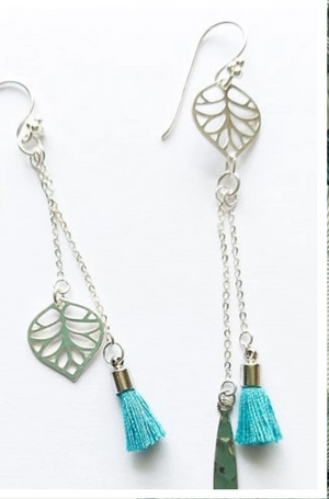 Bali Leaf Drop Mismatch Earrings - Boho Buffalo Accessories