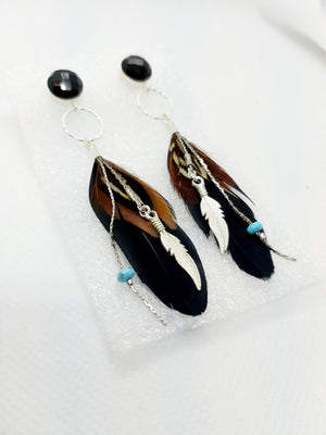 Onyx Feather Charm Earrings