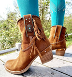 Western Tan Fringed Ankle Boots - Boho Buffalo Accessories