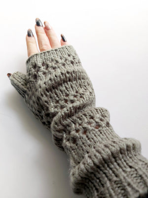 Taupe Knitted Mittens