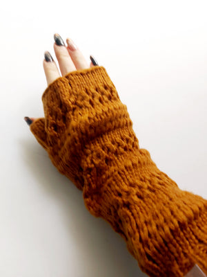 Tan Knitted Mittens
