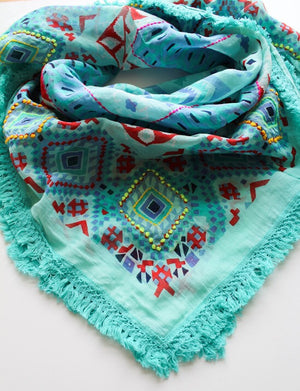 Turquoise Aztec Scarf - Boho Buffalo Accessories