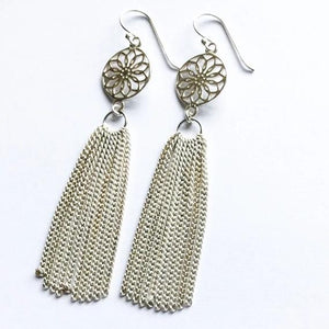 Mandala Chain Tassel Earrings - Various Colours
