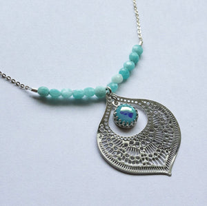 Turquoise Glass Teardrop Necklace - Boho Buffalo Accessories