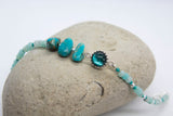 Aqua Gemstone Nugget Glass Bracelet - Boho Buffalo Accessories