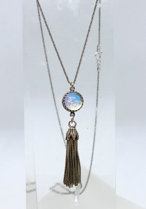 Silver Glass Tassel Necklace