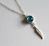 Silver Slim Glass Feather Necklace - Various - Boho Buffalo Accessories
