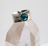 Aqua Hammered Glass Stone Ring