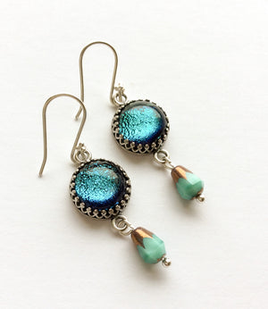 Glass + Czech Crystal Earrings  - Various Colours - Boho Buffalo Accessories