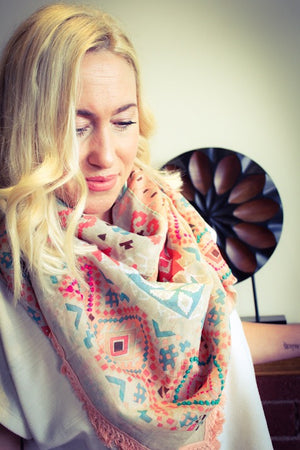 Nude Aztec Scarf - Boho Buffalo Accessories