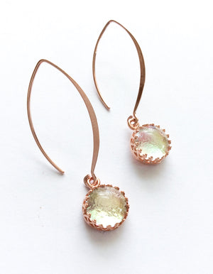 Rose Gold Long Drop Earrings  - Various Colours