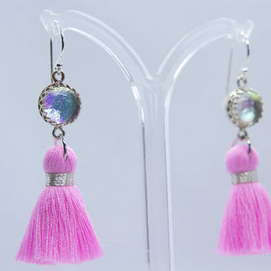 Pink Glass Tassel Earrings - Boho Buffalo Accessories