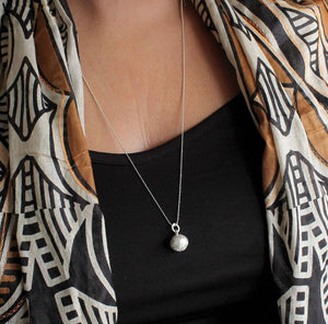 Long Silver Bali Ball Necklace - Boho Buffalo Accessories