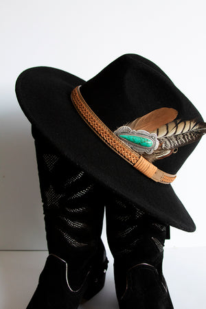 Black Concho Feather Stetson Hat