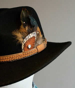 Neutral Feather Swarovski Black Stetson Hat - Boho Buffalo Accessories