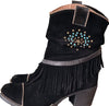 Black Western Fringed Ankle Boots