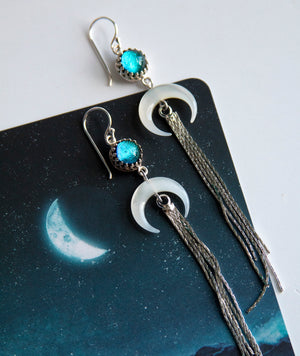 Aqua Crescent Tassel Earrings