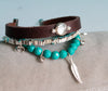 Hematite Twin Beaded Leather Bracelet - Boho Buffalo Accessories