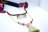 Long Druzy Gemstone Oriental Necklace