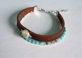 Twin Beaded Leather Bracelet
