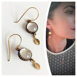 Rose Gold Leaf Drop Earrings  - Various Colours