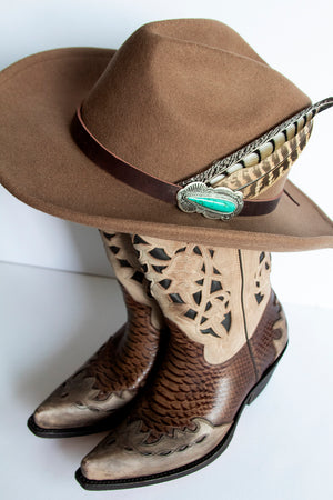 Brown Concho Feather Stetson Hat
