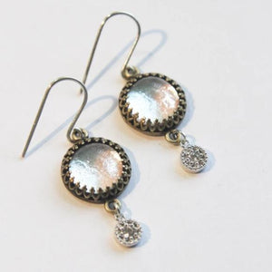 Silver/Antique Gold Diamante Drop Earrings - Boho Buffalo Accessories