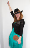 Silver & Peacock Feather Black Stetson Hat - Boho Buffalo Accessories