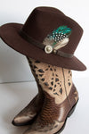 Dark Brown Feather Fedora Hat