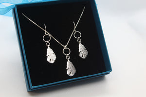 Simple Silver Feather Jewellery Set