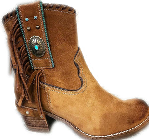 Western Tan Fringed Ankle Boots
