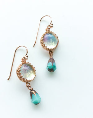 Rose Gold Glass + Czech Crystal Earrings  - Various Colours