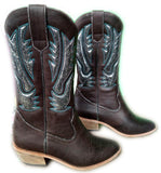 Dark Brown Silver Inlay Western Boots - Boho Buffalo Accessories